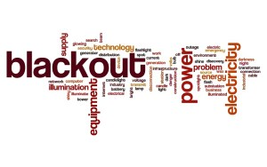 word cloud image of phrases associated with blackouts and power cuts