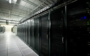 line of server cabinets in a data centre