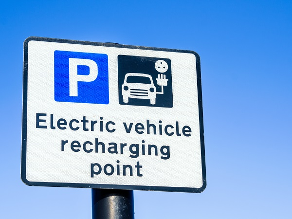 sign for electric vehicle recharging point