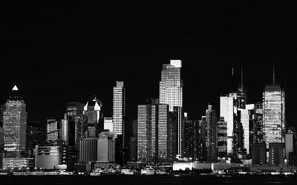 black & white new york cityscape over the hudson river
