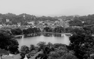 greyscale overview of kandy, sri lanka