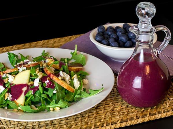 Arugula Salad with Apple Feta Pine Nuts and Roasted Blueberry Vinaigrette-10