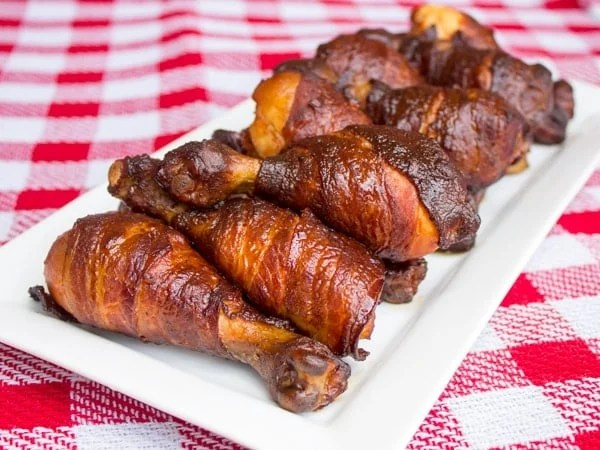 Smoked Bacon Wrapped Chicken Drumsticks_-2