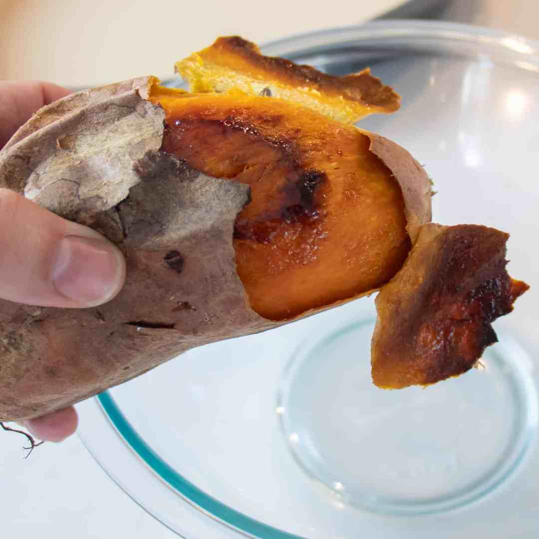Once the sweet potatoes are baked, the skin can peel off easily