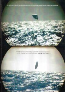 (Top) On this photo, we identify without a doubt a triangular-shaped UFO. It seems to be in trouble. (Bottom) If the order that we have chosen for these pictures is correct, the UFO here seems to now go sideways before plunging into the ocean...