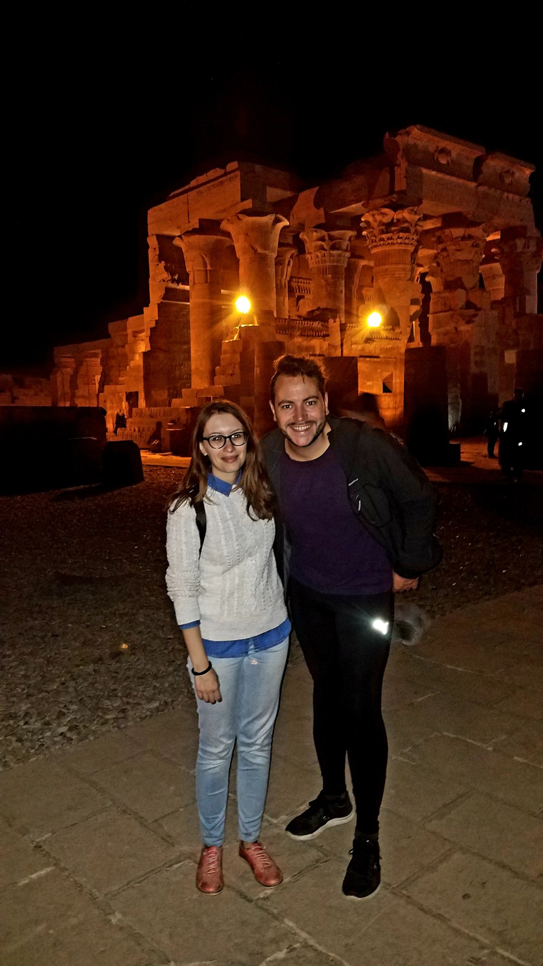 Beatriz and Mathieu at the Kom Ombo Temple