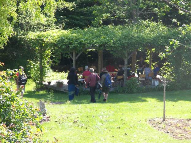 Gathering at the gazebo at River Song Keep on the first day