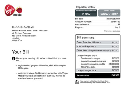 Virgin Media Area Reference Bill