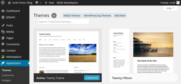 wordpress theme install 1 - Beginners Guide- Setting up a Blog Using Bluehost Hosting