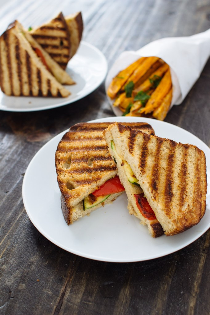Grilled Veggie Panini with Basil and Provolone