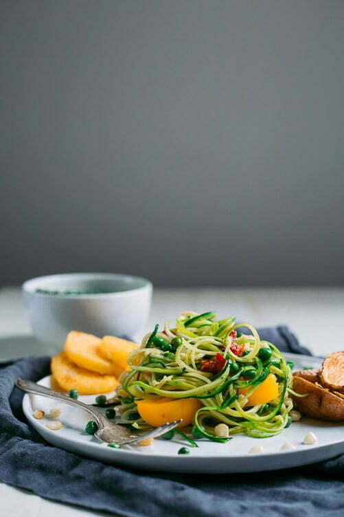 Spiralized Zucchini Pasta with Garlic Peas and Polenta