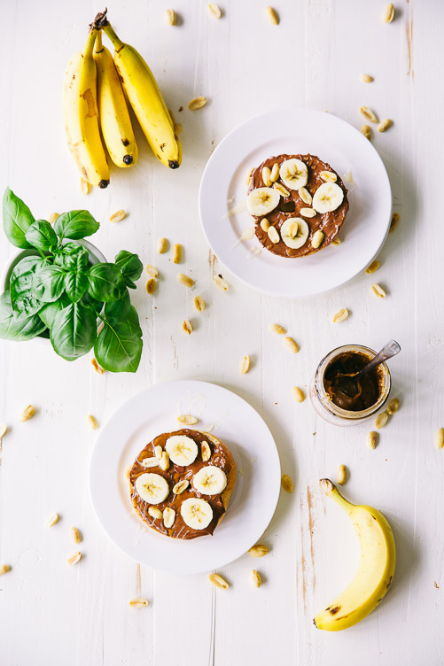 Nutty Monkey Bagel (with almond butter and nutella)