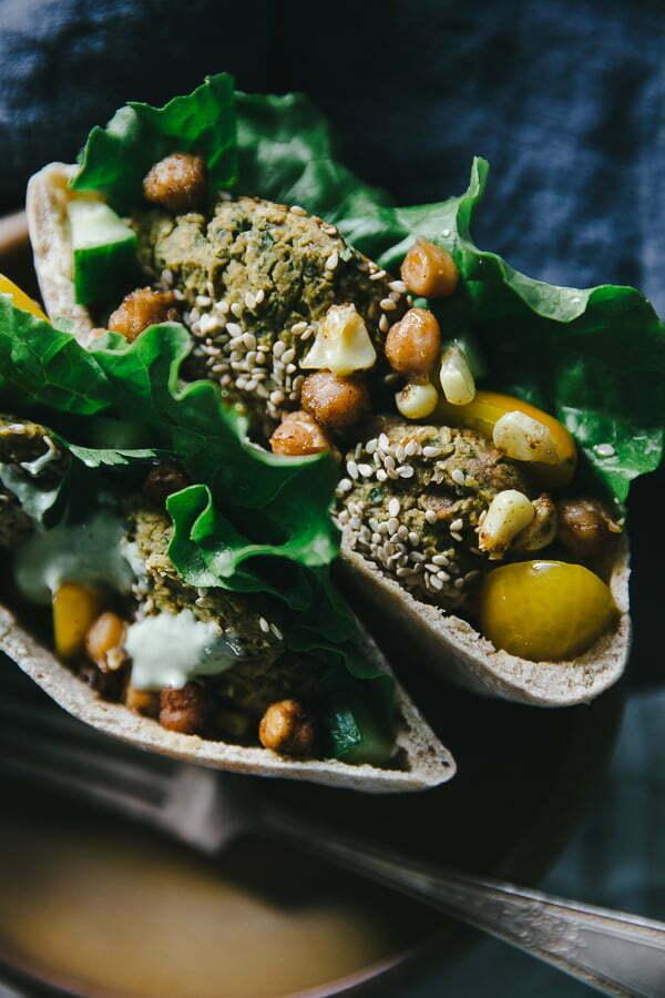 Falafel Gyro with Hummus & Lemon Herb Tahini Drizzle