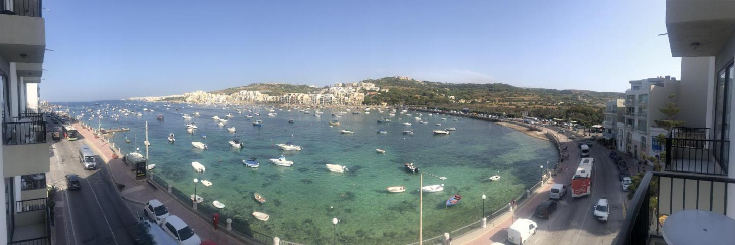 Panoramic view of the ocean in Malta.