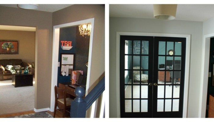 french doors, black doors, entryway