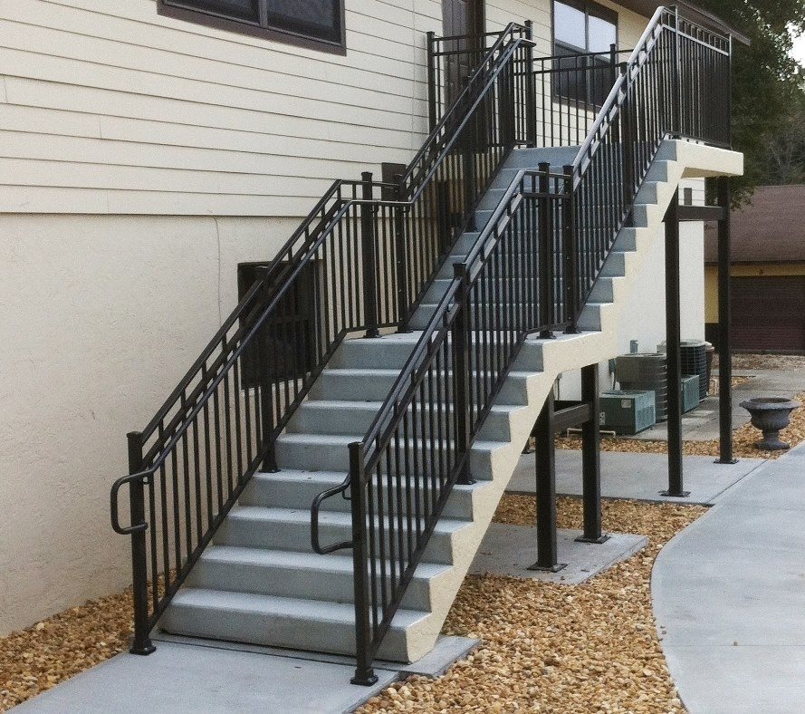 Leesburg Concrete Company Inc Misc Metals Steel Stairs | Metal Handrails For Stairs Exterior | Outdoor Stair | Simplified Building | Porch | Deck Railing | Handrail Ideas