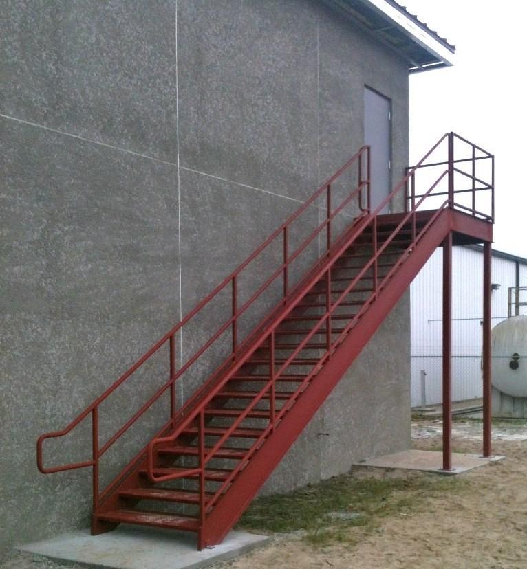 Leesburg Concrete Company Inc Steel Stairs Exterior Image | Outdoor Steel Staircase Design | Steel Framed Exterior | Indoor | Vertical Wire Balustrade | Prefabricated Steel | Stair Handrail