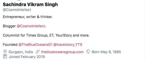 Twitter Bio Section