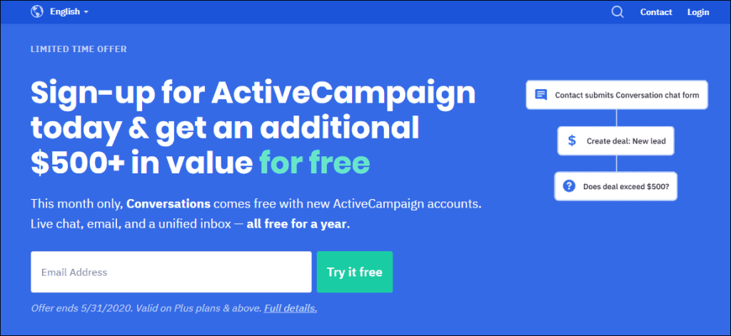Email Marketing Software- ActiveCampaign Dashboard