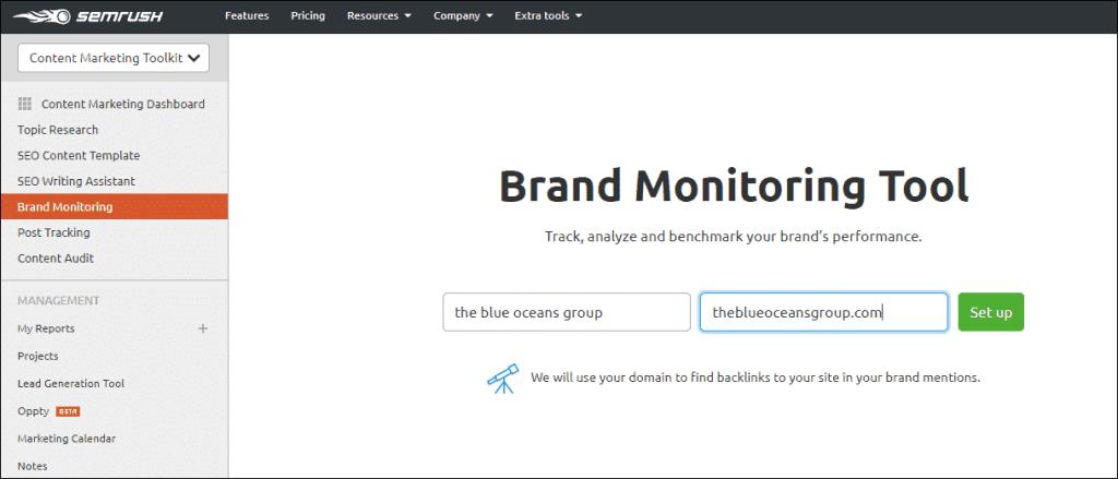 SEMrush Brand monitorin Tool