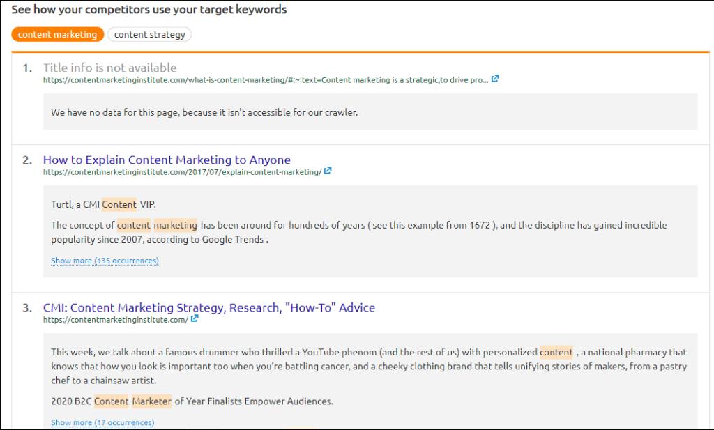 competitors keyword analysis by SEMrush