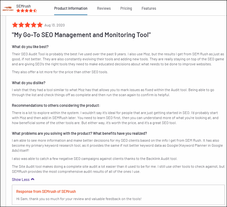 Content Marketing Toolkit by SEMrush Reviews