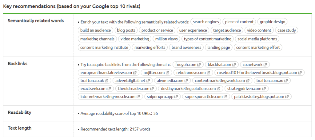tips and recommendation by SEO content template by SEMrush