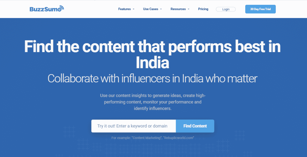 BuzzSumo Link Building Software- SEO marketing tools for Influencer Outreach and Link Building