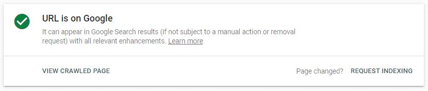 URL is on Google
