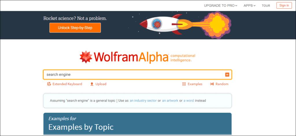 WolframAlpha- Anther Popular Search Engine