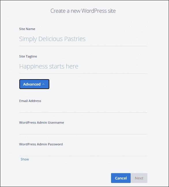 Create a WordPress Site