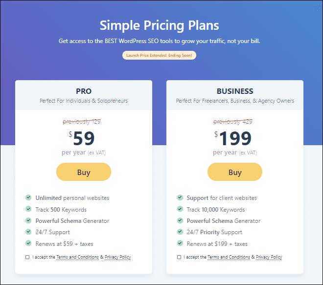 Rank Math Pricing Plans