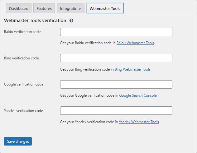 Yoast Webmaster verification - %title%- The Blue Oceans Group
