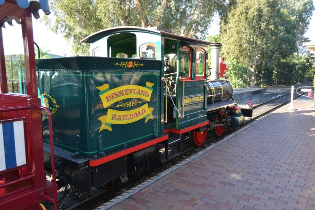 Disneyland Railroad number 3, on display at the Main Street station.