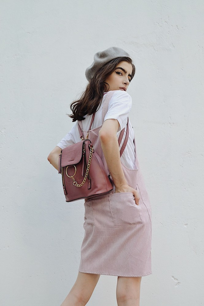 fe66b5594b Pink courderoy pinafore look ft. ROWME - THE BLUE EYED GAL