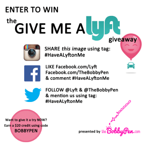 Lyft Giveaway for TheBobbyPen.com