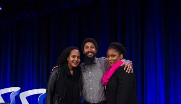 Racial Justice: Social Innovation & Disruption For Good panelists Jana Landon – Tech Diversity, Google,  Errol King – Experience Manager, Google, and Calena Jamieson – Program Manager, Black Girls CODE.Photo by Bernard Smalls