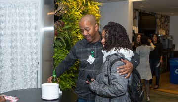 "Guests enjoy networking reception at Google's ""A Seat at the Table: Inclusion and Innovation in Technology & Society""Photo by Bernard Smalls"