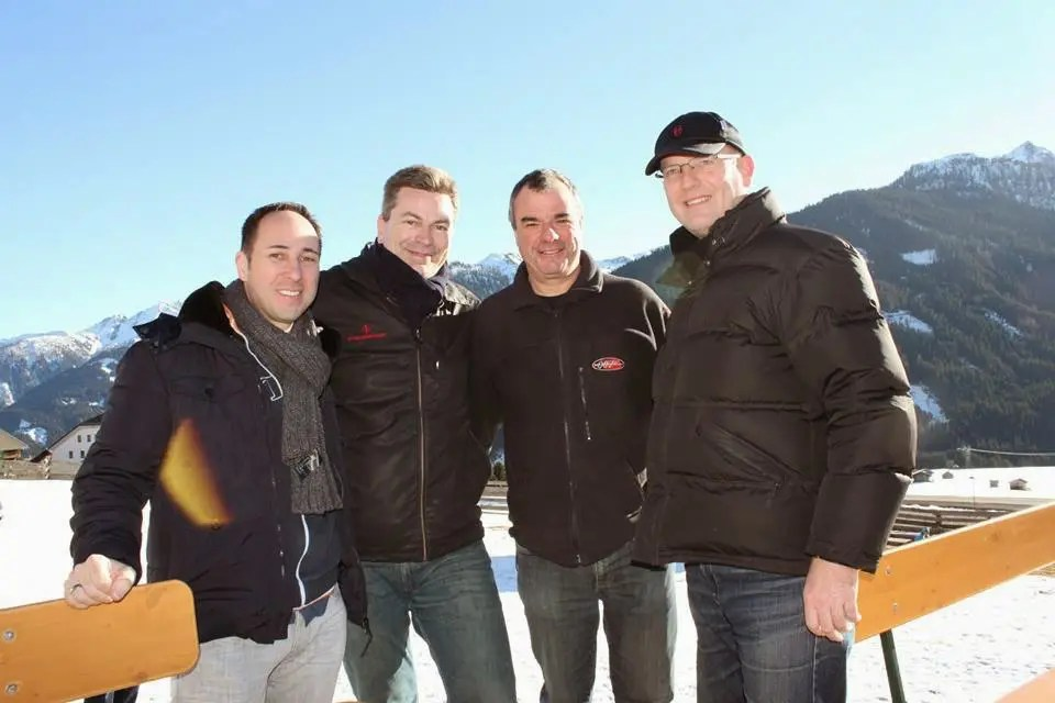 l.t.r: Gernot Wolf, James Bond Club Switzerland President Markus Hartmann, Chris Corbould and Hansi Zweigle / Photo Copyright: Markus Hartmann