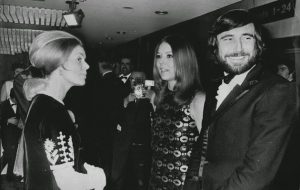 The Duchess of Kent (l) with Diana Rigg (m) and George Lazenby (r)