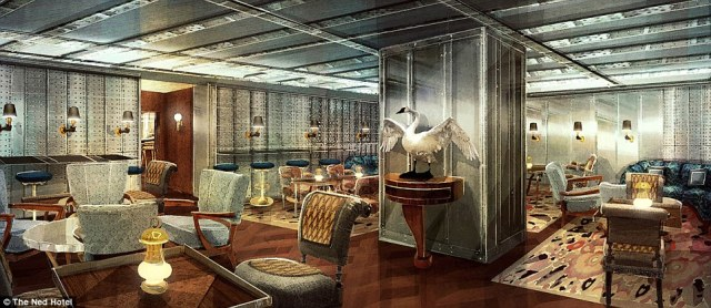 Envisioned look of the exclusive bar located behind the vault door