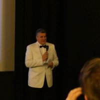James Bond Club Germany President Andreas Pott during his laudatory speech