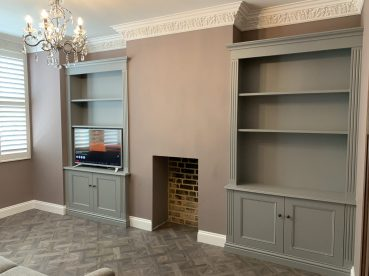 Classic styled alcove units with fluted pilasters