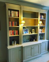 Classic Freestanding Bookcase Shelving unit with cupboards below