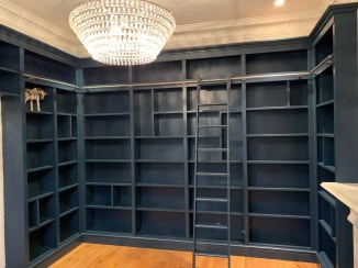 Wall to wall library shelving