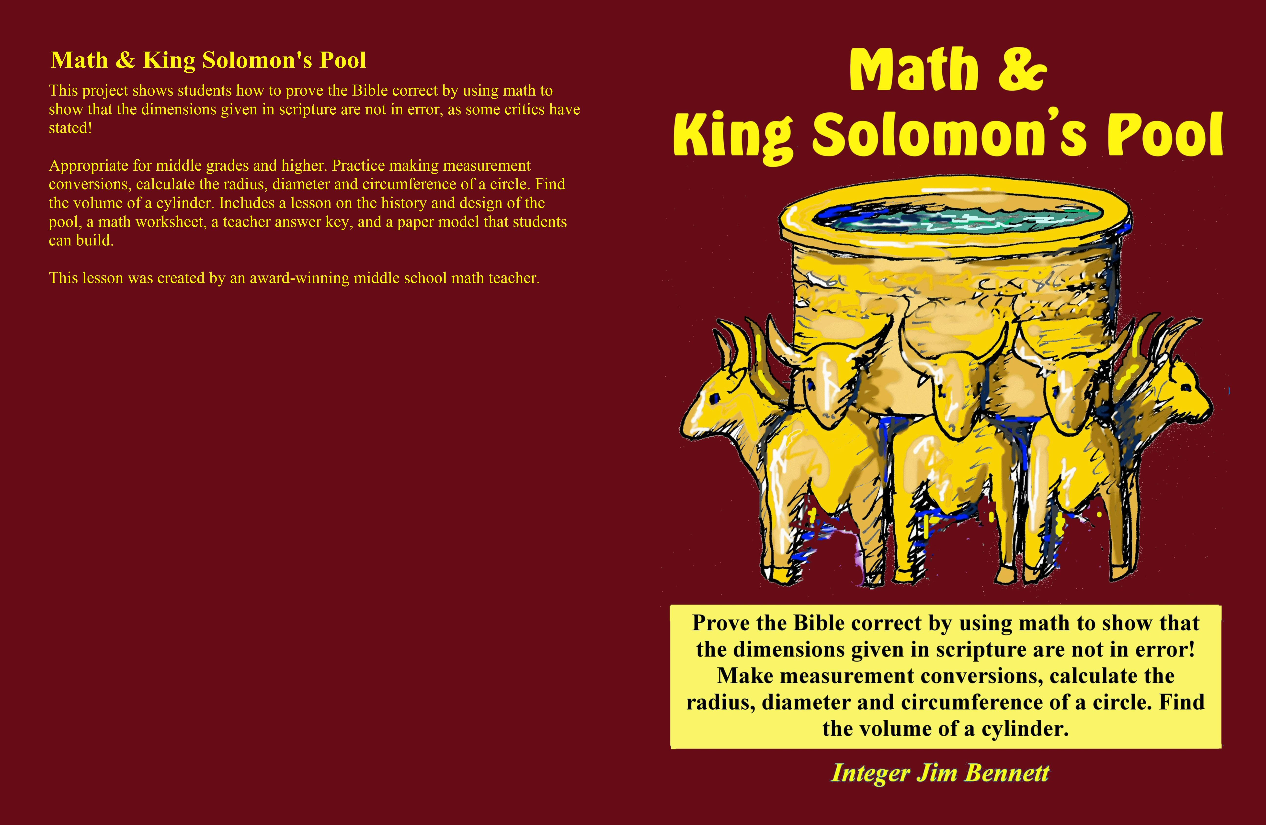 Math And King Solomon S Pool By Jim Bennett 6 95 Thebookpatch
