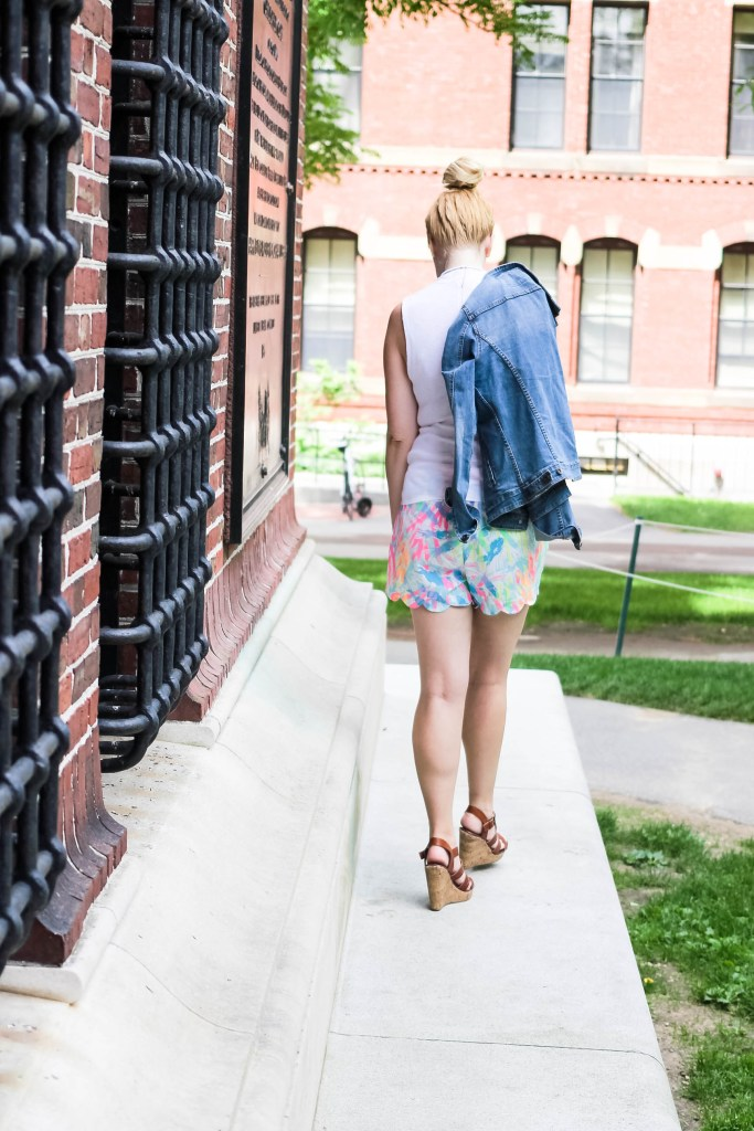 walking away in the scallop hem short from Lilly Pulitzer