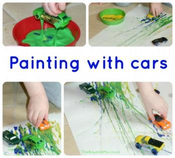 Painting with toy cars
