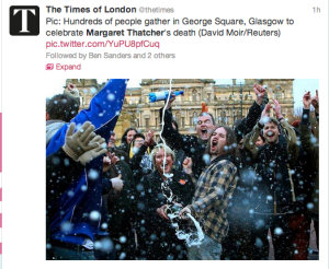 The Times of London: Celebrations in Glasgow upon Margaret Thatcher's Death