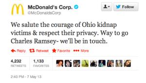 McDonald's Tweet to Charles Ramsey